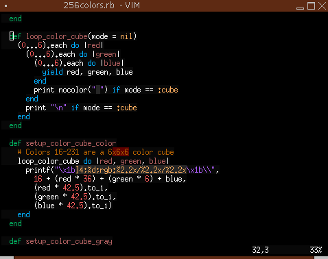 Vim in 256 colors with colorscheme 'inkpot'